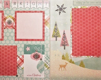 Merry and Bright - Two 12x12 Premade Scrapbook Pages - Just Add Photos