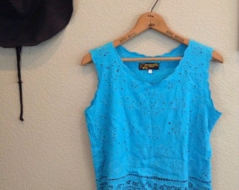 Vintage 70s turquoise blue lace crop top ~ cut outs ~ bohemian ~ boho ~ hippie