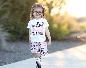 Girls Panda Ruffle Shorts - Girls Shorts - Ruffle Shorts - Panda Outfit - Birthday Outfit - Party Outfit -  Girls Shorties -  Summer Outfit