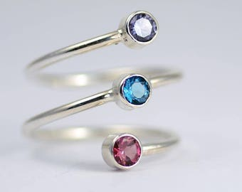 Birthstone ring - Mothers ring - 3 Stone Mom Ring - Triple Birthstone Ring - Three Birthstone Ring - Trio Ring - Three Stone Ring - Mom Gift