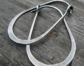 20% OFF Sale Gunnysack Hoops - oxidized stelring silver oblong hoops
