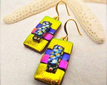 Dichroic Earrings, dichroic jewelry, dichroic glass, fused glass, handcrafted, statement earrings, yellow pink earrings, striped earrings