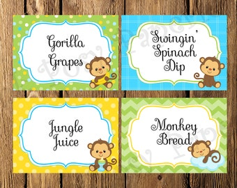 Printable Boy Monkey Baby Shower Food Labels