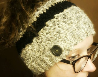 Crochet messy bun beanie with button - black, grey and brown