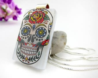 Sugar Skull Pendant-  Fused Glass Jewelry- Fused Glass Pendant- Fused Glass Necklace-Skull Jewelry