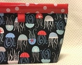 Jellyfish Oilcloth Snappy Pouch - Large