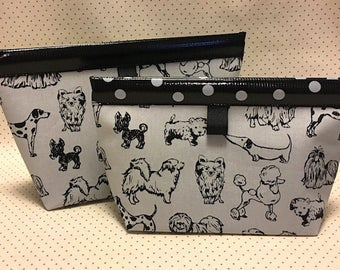 Dog Party Oilcloth Snappy Pouch - 5 Sizes
