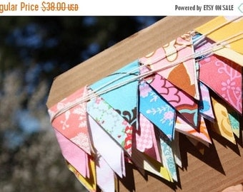 FLASH SALE 40 Percent Off Ready To Ship, 10' of Mini Flag Bunting, Features 60 Tiny Flags in a Mix of Happy Colors.