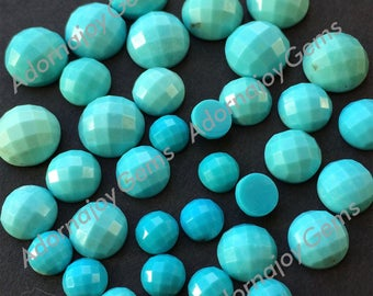 Gemstone Cabochon Turquoise 10mm Checkerboard FOR ONE