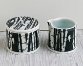 Black and White Sgraffito Carved Birch Tree Sugar and Creamer Set