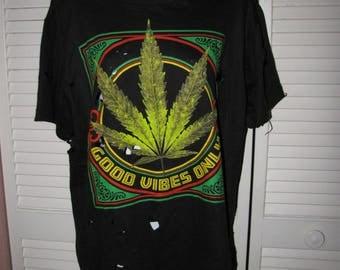 black green red rasta Good Vibes Only Marijuana pot leaf 420 710 friendly unisex deconstructed cut trashed t shirt mens Large womens L / XL