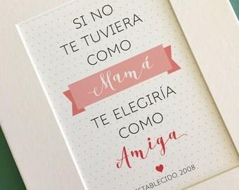 Spanish Matted art print... Madre y Amiga