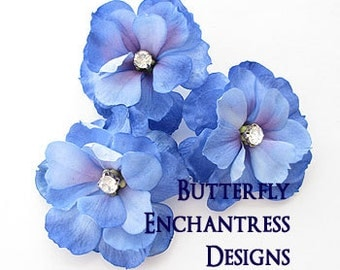 Something Blue Wedding Hair Flowers, Bridal Destination Beach Hair Accessories - 3 Blue Purple Mini Magnolia Hair Pins - Rhinestone Centers