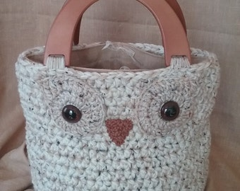 Crochet Owl Handbag purse tote with removable linen liner