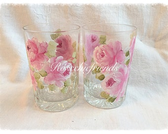 2 Drinking Glasses Shabby Roses Pink Chic Hand Painted ecs svfteam