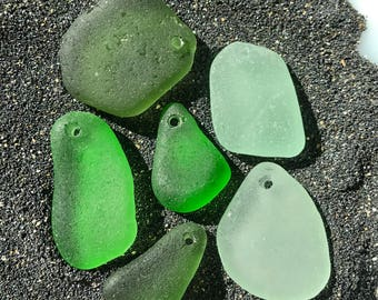 Drilled sea glass pendants - Drilled beach glass - Sea glass beads - genuine sea glass - Bulk sea glass