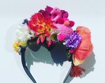 Flamingo Tropical Floral Flower Crown Festival Head Dress Hair Band pink orange