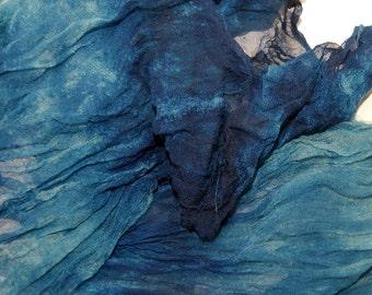 Lagoon in  Hand Dyed Silk Gauze  for Nuno Felting