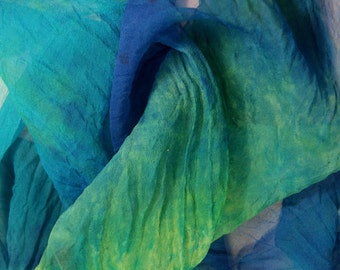 Blue Moon in  Hand Dyed Silk Gauze  for Nuno Felting