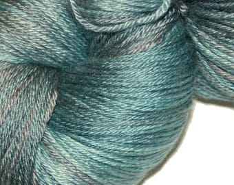 Blue Slate in Hand Dyed Poet Seat Fingering Weight Superwash Merino and Silk Yarn