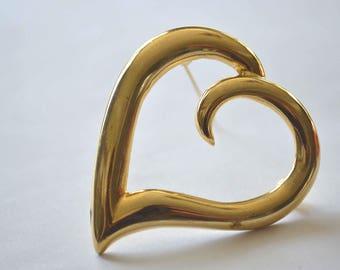 Gold Heart Brooch, Vintage Heart Pin, 1980's Heart Brooch, Goldtone Heart Pin, Large Heart Brooch, Wavy Heart Pin