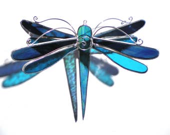 Stunning Wings - 3D Stained Glass Dragonfly Twirl - Medium Blue Home Garden Decor Hanging Suncatcher 3Dimensional Yard Art (READY TO SHIP)