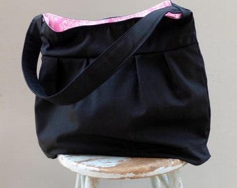 Black Diaper Bag Pink Liner, 3 Pockets, Key Fob