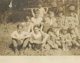 vintage photo 1920 Boy Scouts Scouting Lord of Flies Boys Summer