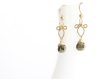 Arabella - Petite Pyrite Gold Filled Earrings | Delicate Dangles