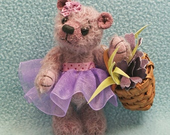 Lilly Artist Teddy Bear Jointed Mauve Mohair  Miniature
