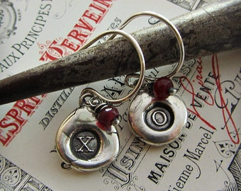 XO Silver Earrings with Red Ruby Gemstones - Hugs and Kisses -  Gift for Her