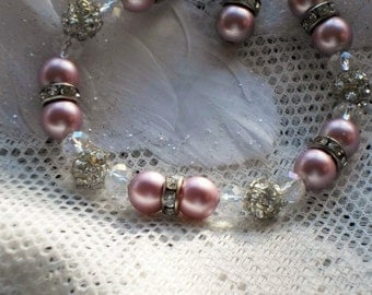 Pink pearl bracelet with crystal fireball beads, rondelles, AB crystals, silver toggle clasp