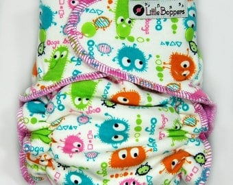 Custom Cloth Diaper or Diaper Cover - Candy Ooga Booga - You Pick Size and Style - Custom Cloth Nappy or Wrap - Monsters