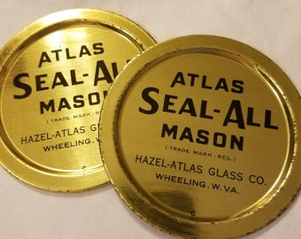2 wide mouth rare atlas seal all canning jar lids metal flats unused NOS hazel atlas glass company wheeling canning mason jar vintage lids