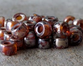 Topaz Picasso 6mm Czech Glass Roller Bead : 20 pc Brown Picasso Large Hole Pony Bead