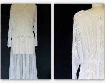Vintage Ultra Sheer Beaded Dress White Beaded Dress Long Beaded Dress Sz.XL Party Prom Dress