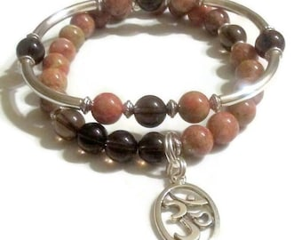 FREE GIFT with purchase Smoky quartz Namaste charm Autumn Jasper silver tube beaded bracelet set