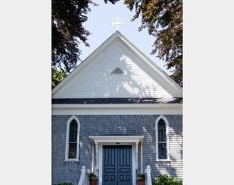 St. Joseph Church, Woods Hole Church Photo, Cape Cod Church Photo, Catholic Church, Blue Gray Church, Architecture Photo, Cape Cod Photo