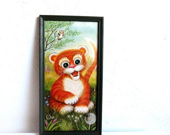 Vintage Framed K. Chin Big Eyed Tiger Wall Art, Litho Poster Print 1970s, Jungle themed Nursery Room Decor