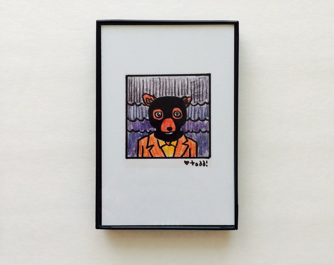 Art, Fantastic Mr Fox, Crazy Eyes, Print, 4 x 6 inches, Wes Anderson, movies, film geek, George Clooney, framed artwork, wall decor