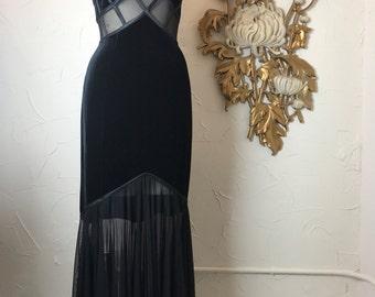 1990s dress black gown mermaid dress tadashi gown velvet gown size sleeveless gown formal dress