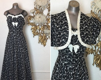 1930s dress embroidered dress size medium vintage dress old hollywood dress and jacket maxi dress