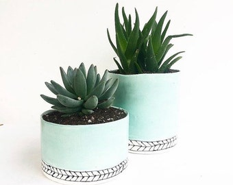 Handmade Round Ceramic Planter Pot Coral or Jade