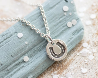 Lucky Horseshoe Necklace, Silver horseshoe necklace, Lucky horse shoe necklace, horse shoe, lucky charm, horseshoe pendant, equestrian gift