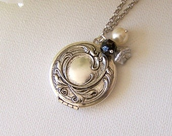 Silver Ornate Locket, Wedding Birthday Bridesmaids Anniversary, Long Necklace, Flower Jewelry, Gift For Her