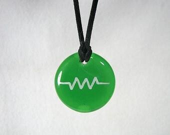 Green Glass Resistance Pendant,Resistor Pendant, Green Pendant, Green Necklace, Resist Symbol