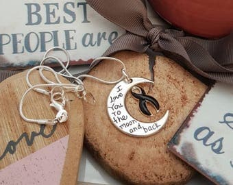 BL-2 Melanoma Awareness Necklace Narcolepsy Jewelry I Love You To The Moon and Back Necklace Gift For Her Skin Cancer Moon and Back Jewelry