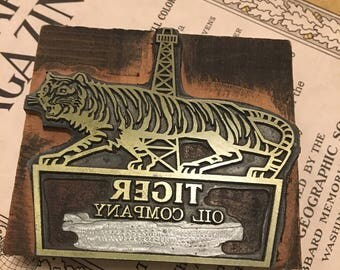 Tiger Oil Company Printers Block Stamp 1970s Edward Davis Angry Boss Memo