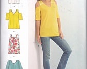 Simplicity 8337 Misses Knit Tops Bodice and Sleeve Variations Cold Shoulder Tank Top Sewing Pattern Sizes XXS-XXL New UNCUT