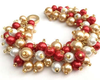 Christmas Bracelet, Chunky Bracelet, Red White and Gold, Christmas Jewelry, Beaded Bracelet, Holiday Jewelry, Festive Cluster Pearls, Gift